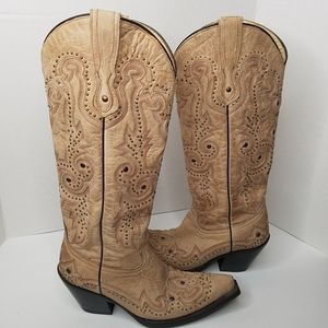 Corral Western Boots Bone Studded Wingtip